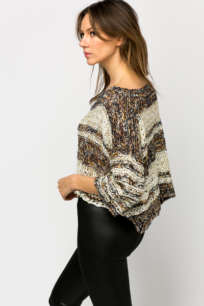 Metallic Crochet Crop Jumper