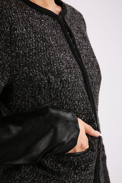 Contrast Faux Leather Sleeve Boucle Jacket