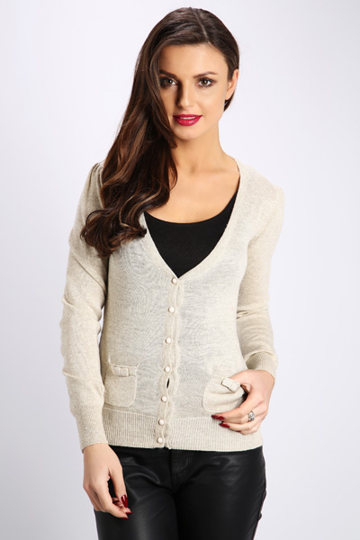 Metallic Lace Back Cardigan
