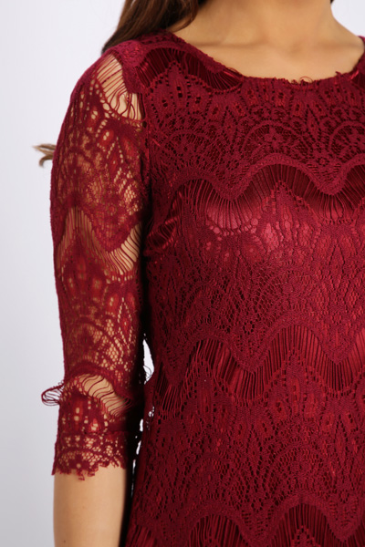 Lace Maroon Dress