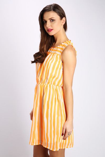 Embellished Neckline Stripe Dress