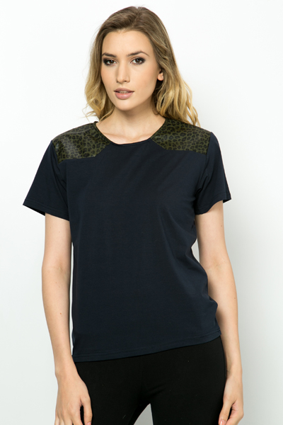 Pu Leopard Print Shoulder Top Navy Or Black Just 163 5