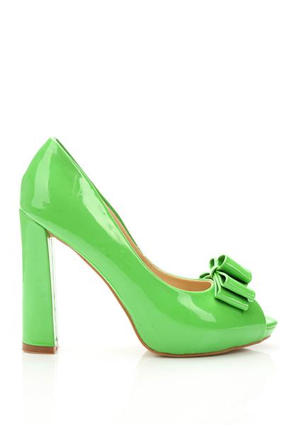 Bow Peep Toe Patent PVC Shoes