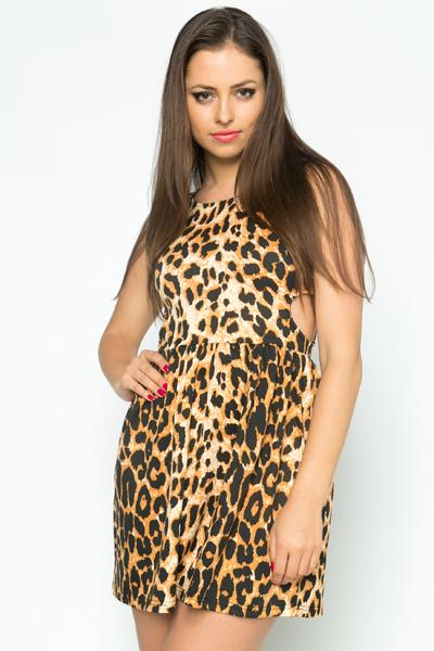 Cut Out Leopard Print Skater Dress - Brown - Just £5 a043850b0
