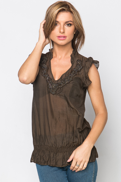 Embellished Neckline Frill Shoulder Top