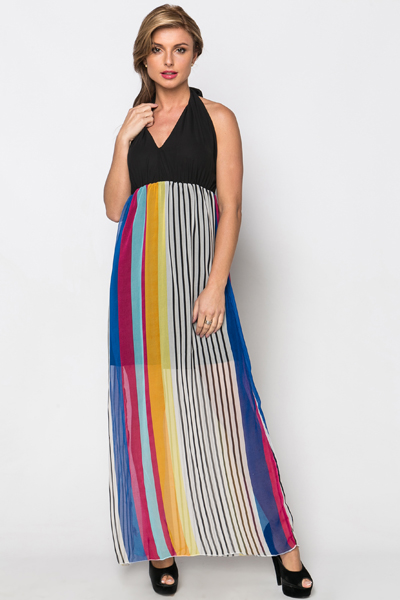 Contrast Halterneck Stripe Maxi Dress