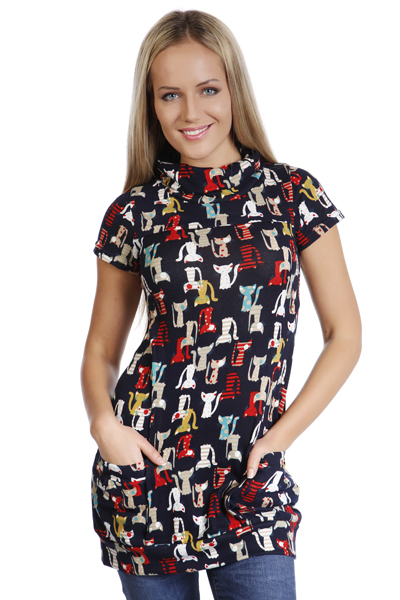 Pussy Cat Print Fleece Dress