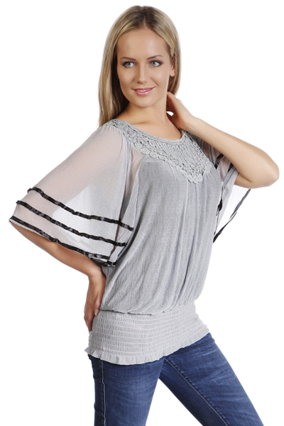 Ruched Hem Batwing Blouse