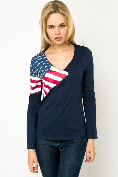 Encrusted Flag V-Neck Sweatshirt