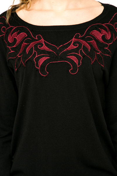 Lace Embroidered Neckline Pullover