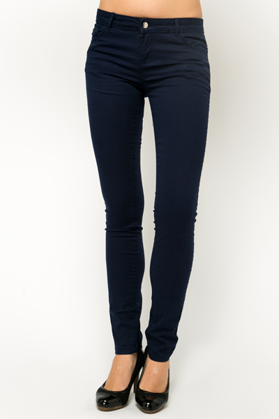 Slim Leg Cotton Blend Trousers