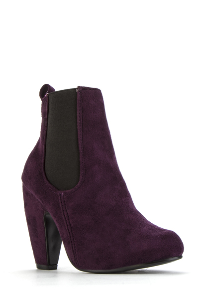Elastic Side Suedette Ankle Purple Boots