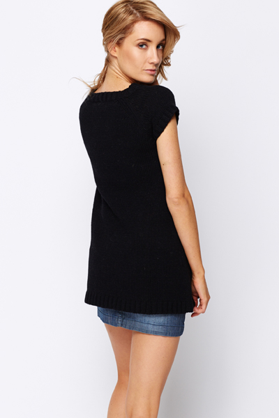 Short Sleeve Cable Knit Jumper