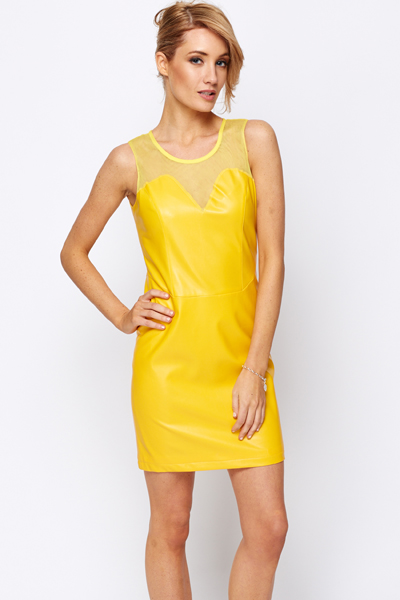 Mesh Net Insert Bodycon Dress