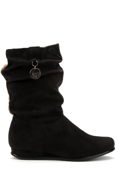 Ruched Black Calf Boots