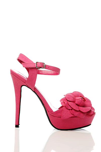 Faux Leather Flower Embellished Sandals