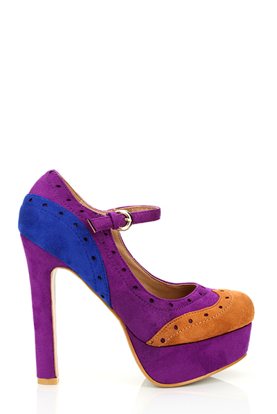 Spectator Suedette Heeled Shoes