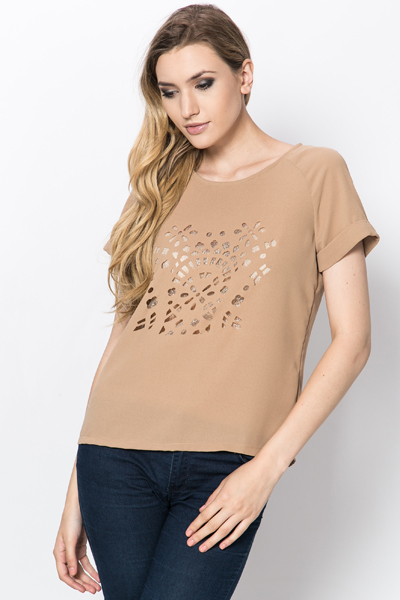 Laser Cut Metallic Blouse