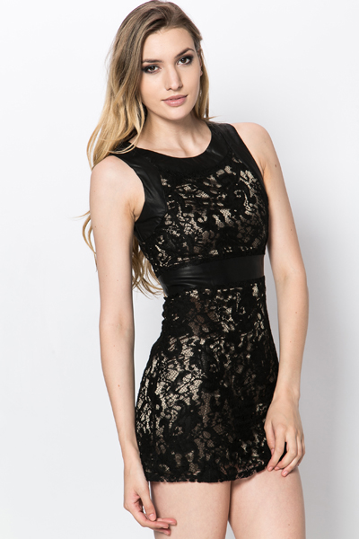 PU Trim Lace Dress
