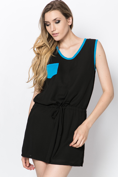Bow Back Drawstring Waist Dress