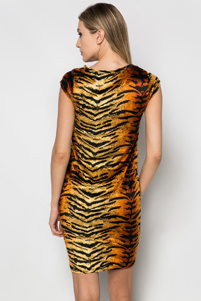 Fleeced Tiger Print Dress