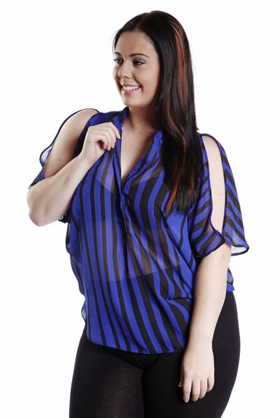 Cut Out Shoulders Striped Blouse