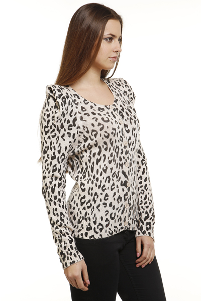 Padded Shoulders Leopard Print Cardigan