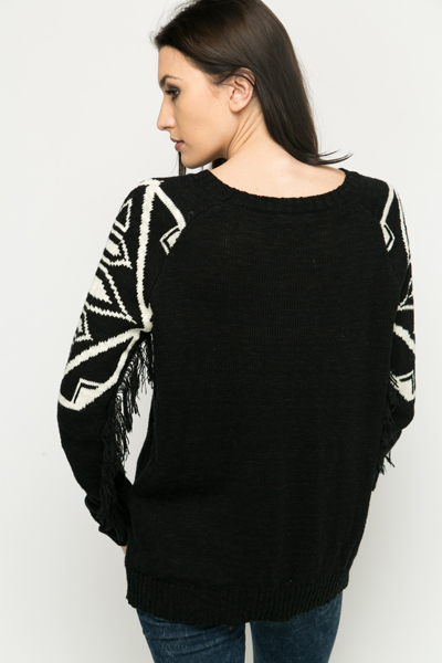 Tasselled Sleeve Aztec Jumper