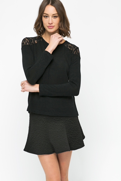 Lace Shoulder Pullover