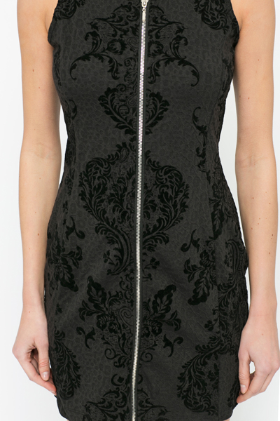 Tapestry Embossed Zip Front Dress