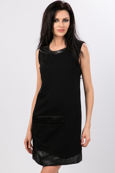 Faux Leather Block Panel Dress