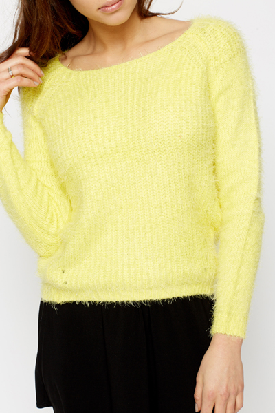 Dipped Hem Fluff Knit Jumper