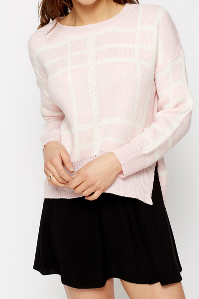 Slit Hem Check Grid Jumper