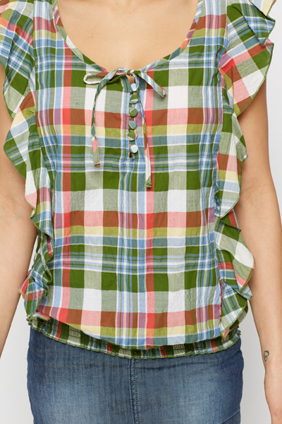 Frilled Trim Check Blouse