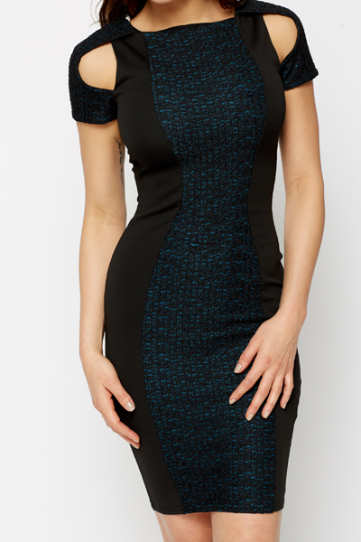 Cut-Out Sleeve Panel Bodycon Dress