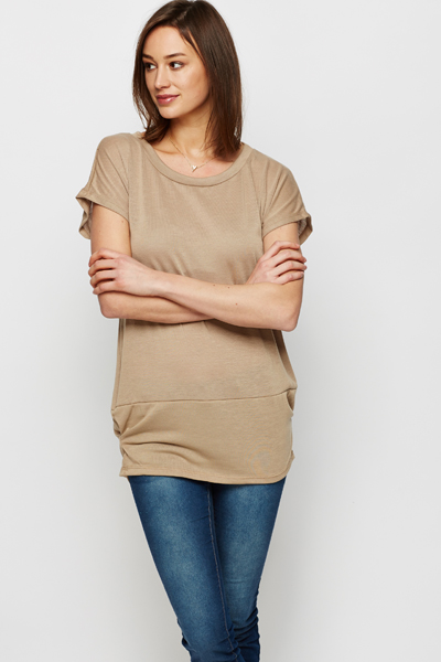 Ruched Side Hem Fine Knit Top