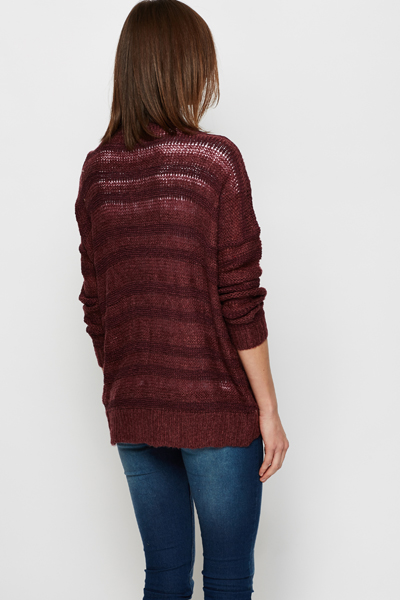 Stripe Knit Open Front Cardigan