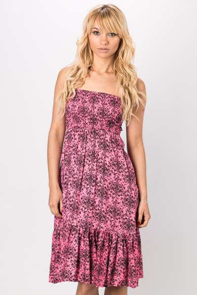 Bandeau Tapestry Print Dress