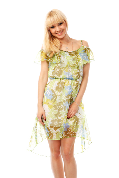 Frilled Off Shoulder Leaves & Flowers Pattern Dress