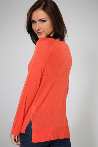 Large Round Neckline Sheer Knit Pullover