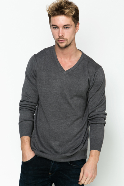 V-Neck Cotton Blend Pullover