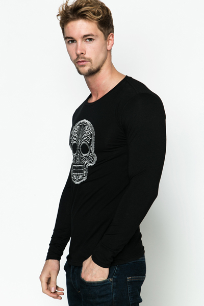 Metallic Skull Print Top
