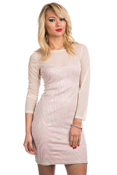Glitter Mesh Insert Bodycon Dress