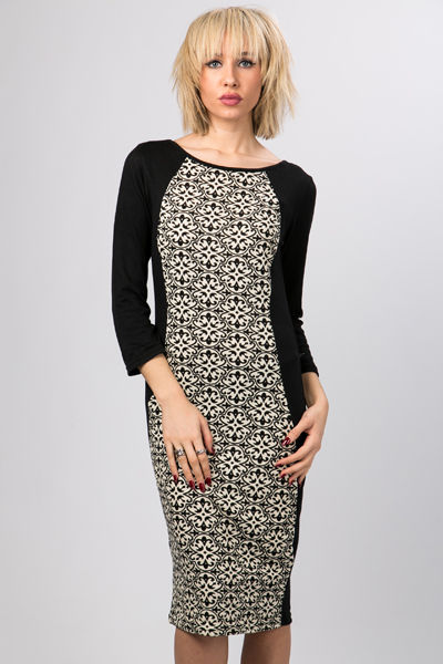 Tapestry Print Bodycon Midi Dress
