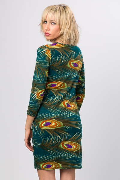 Peacock Feather Wool Blend Dress