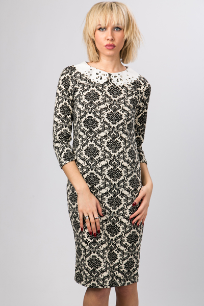 Laser Cut Collar Tapestry Dress