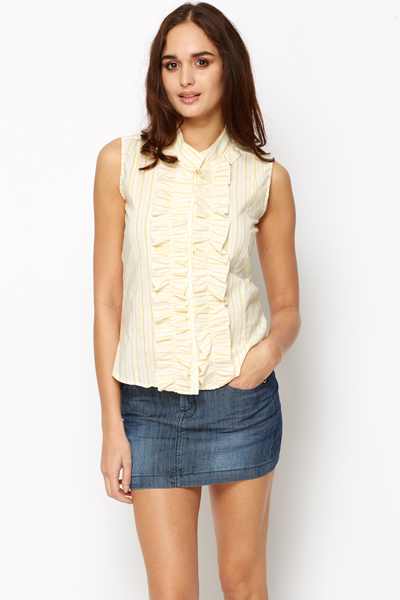 Frilled Sleeveless Shirt