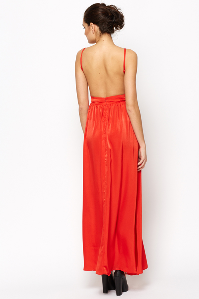 Open Back Embellished Maxi Dress