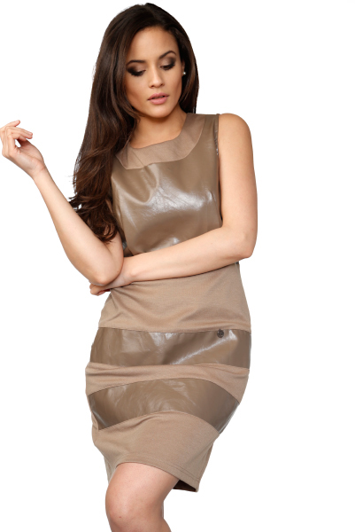 Faux Leather Bust & Panels Shift Dress