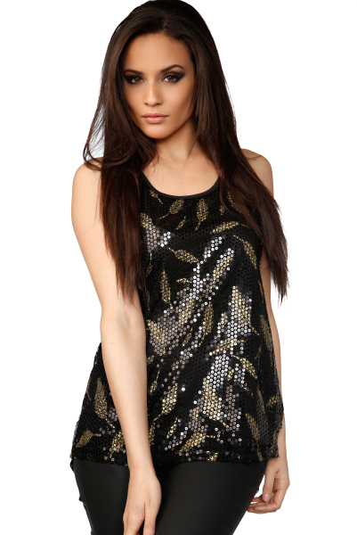 Sequined Leaves Pattern & Lace Back Top